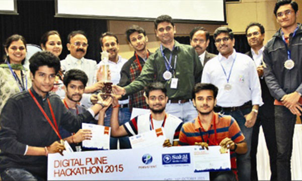 Team Aqua from the Army Institute of Technology secures 1st position in the Digital Pune Hackathon 2015 contest.